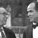 """Óscar Esplà amb Montsalvatge (derecha), en Alicante, a raíz del estreno de """"Partita 1958"""" de este último."""