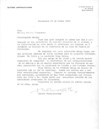 Carta a Aurora Nátola de X. Montsalvatge